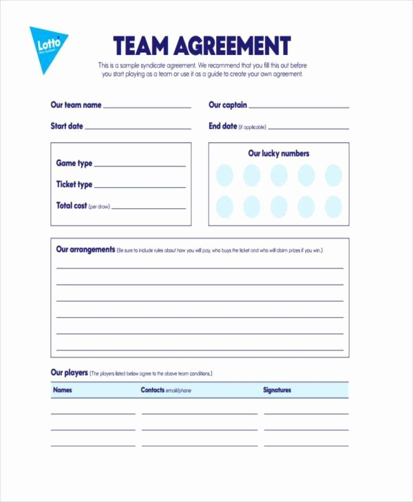 Sample Lottery Pool Agreement New Sample Lottery Syndicate Agreement forms 8 Free