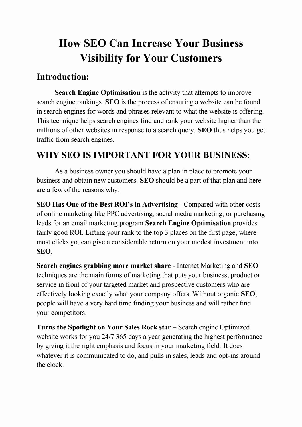 Sample Marketing Letters to Potential Clients Unique How Seo Can Increase Your Business Visibility for Your