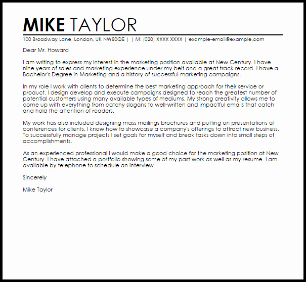 Sample Marketing Letters to Potential Clients Unique Marketing Job Sample Cover Letter