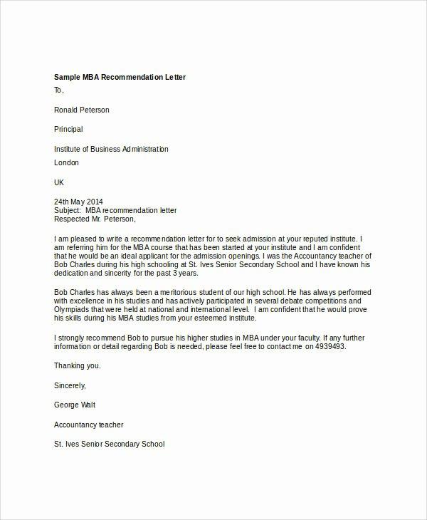 Sample Mba Recommendation Letter Elegant 37 Re Mendation Letter format Samples