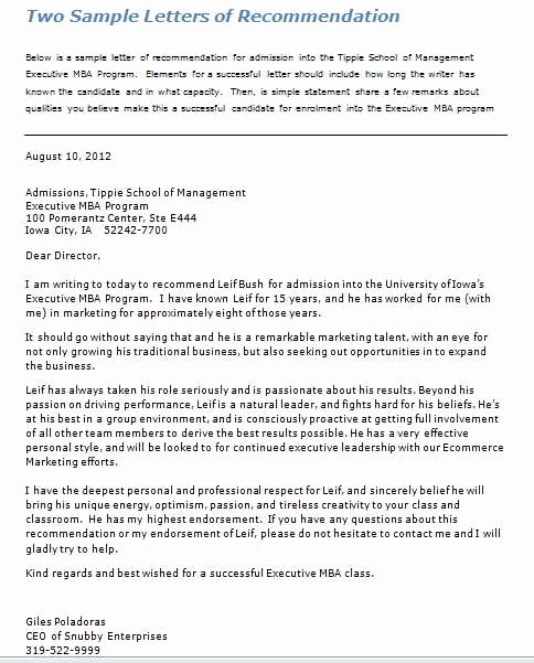 Sample Mba Recommendation Letter Elegant Letter Re Mendation for Mba Admission 2018 2019