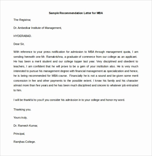 Sample Mba Recommendation Letter New 30 Re Mendation Letter Templates Pdf Doc