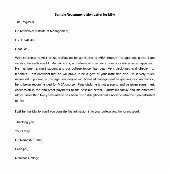 Sample Mba Recommendation Letter New 30 Re Mendation Letter Templates Pdf Doc