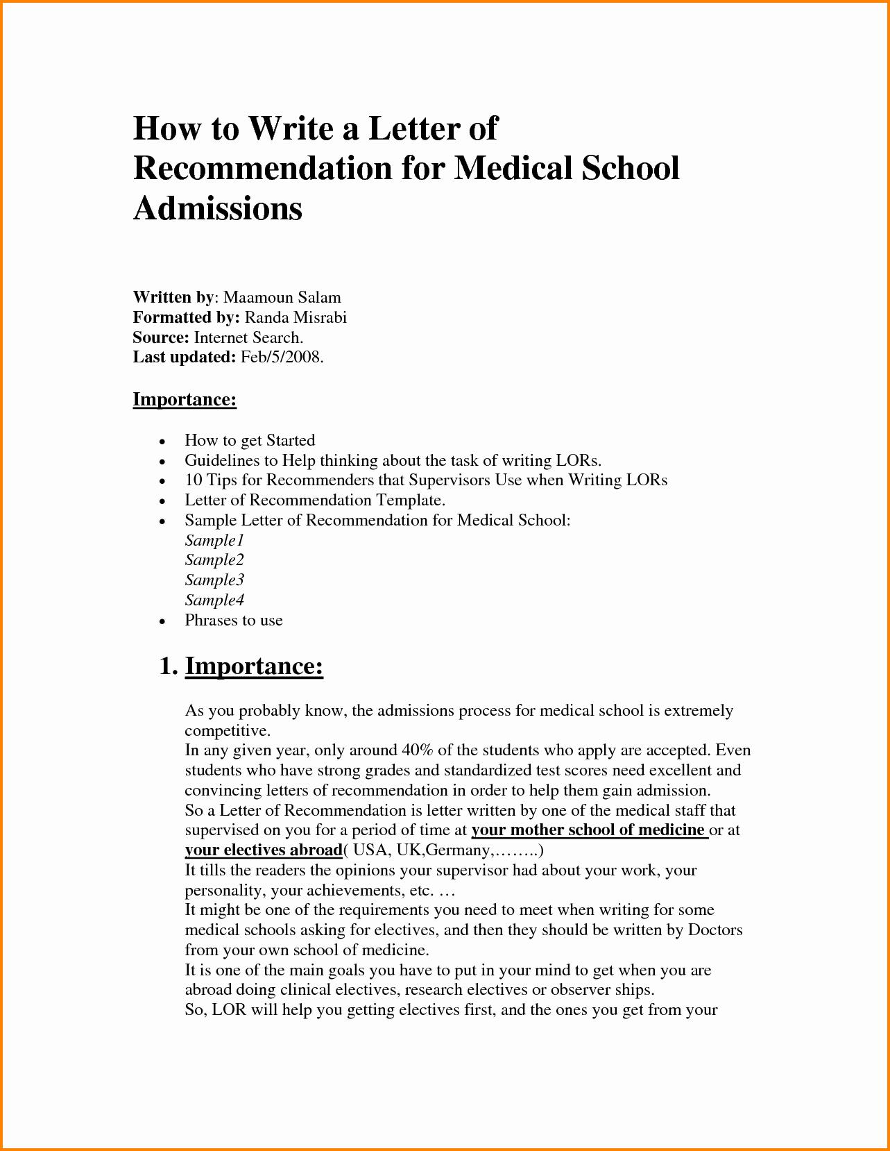 Sample Medical School Recommendation Letter Beautiful 11 Medical School Letter Of Re Mendation Template