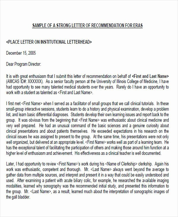 Sample Medical School Recommendation Letter Luxury 8 Sample Physician Re Mendation Letters Doc Pdf