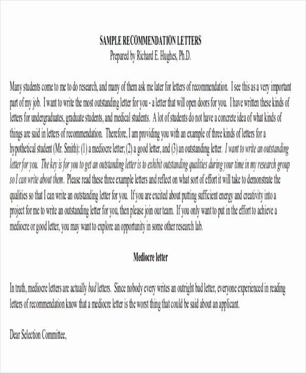 Sample Medical School Recommendation Letter New 9 Sample Physician Letter Of Re Mendation Word Pdf