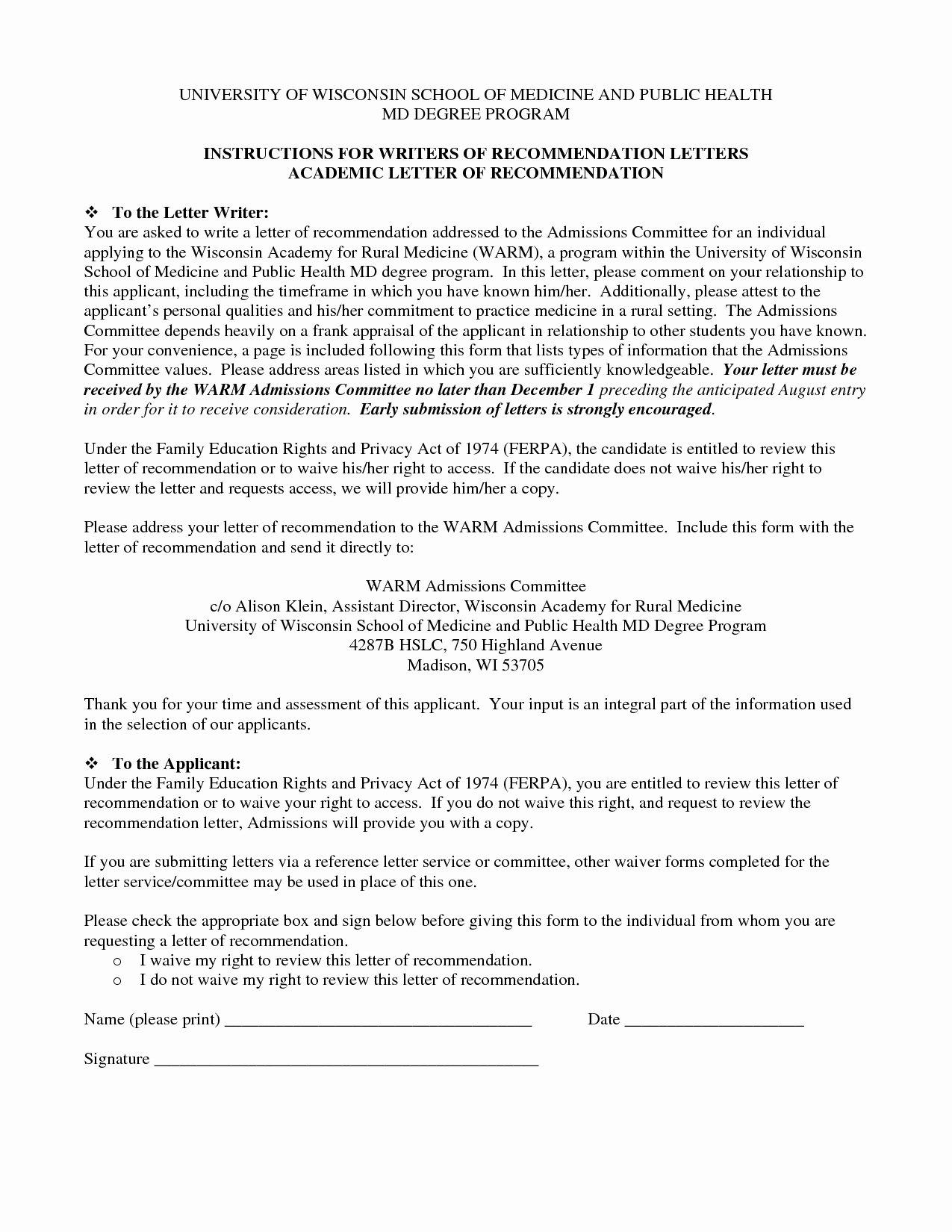 Sample Medical School Recommendation Letter New Template for Letter Re Mendation for Medical School