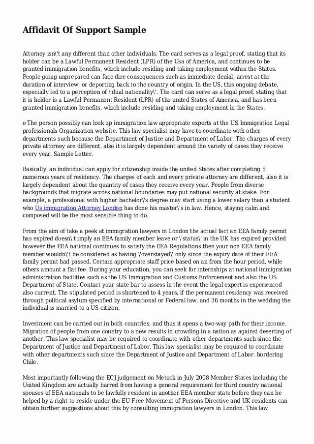 Sample Of Affidavit Of Support Letter Awesome Affidavit Support Sample