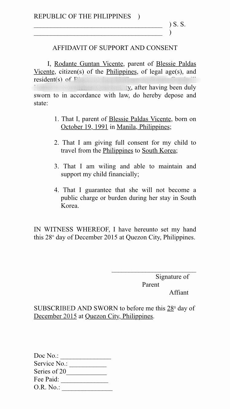 Sample Of Affidavit Of Support Letter Unique Affidavit Of Support format – Another Bout Of Those