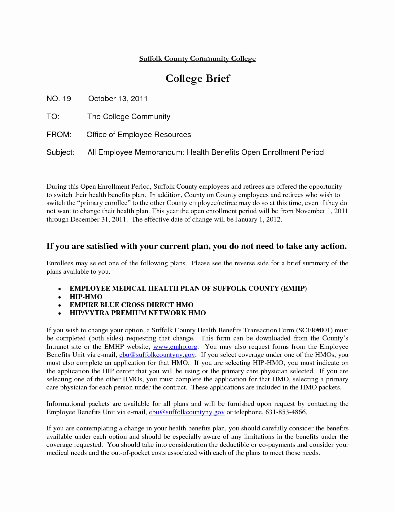 Sample Open Enrollment Letter to Employees Best Of Collection Open Enrollment Memo to Employees S