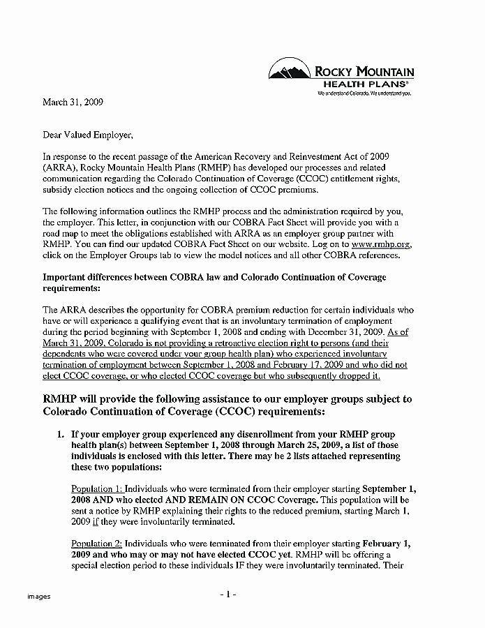 Sample Open Enrollment Letter to Employees Elegant Cobra Letter Template