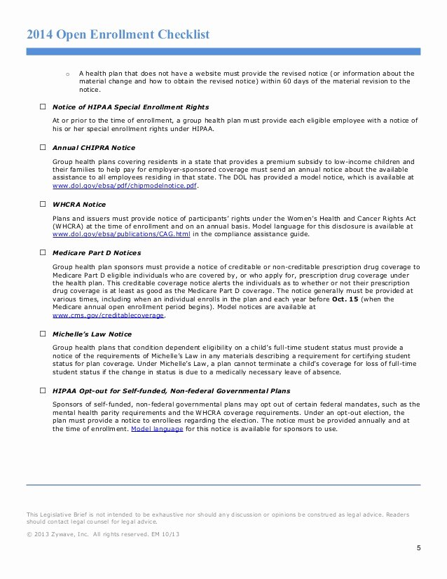 Sample Open Enrollment Letter Unique Open Enrollment Checklist
