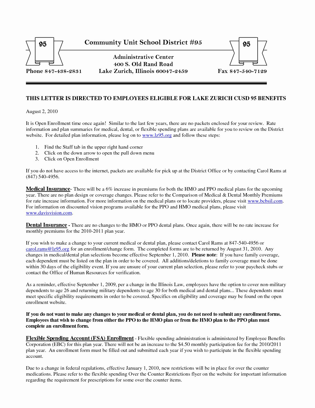Sample Open Enrollment Letters Beautiful 10 Best Of Benefit Enrollment Letters Benefits