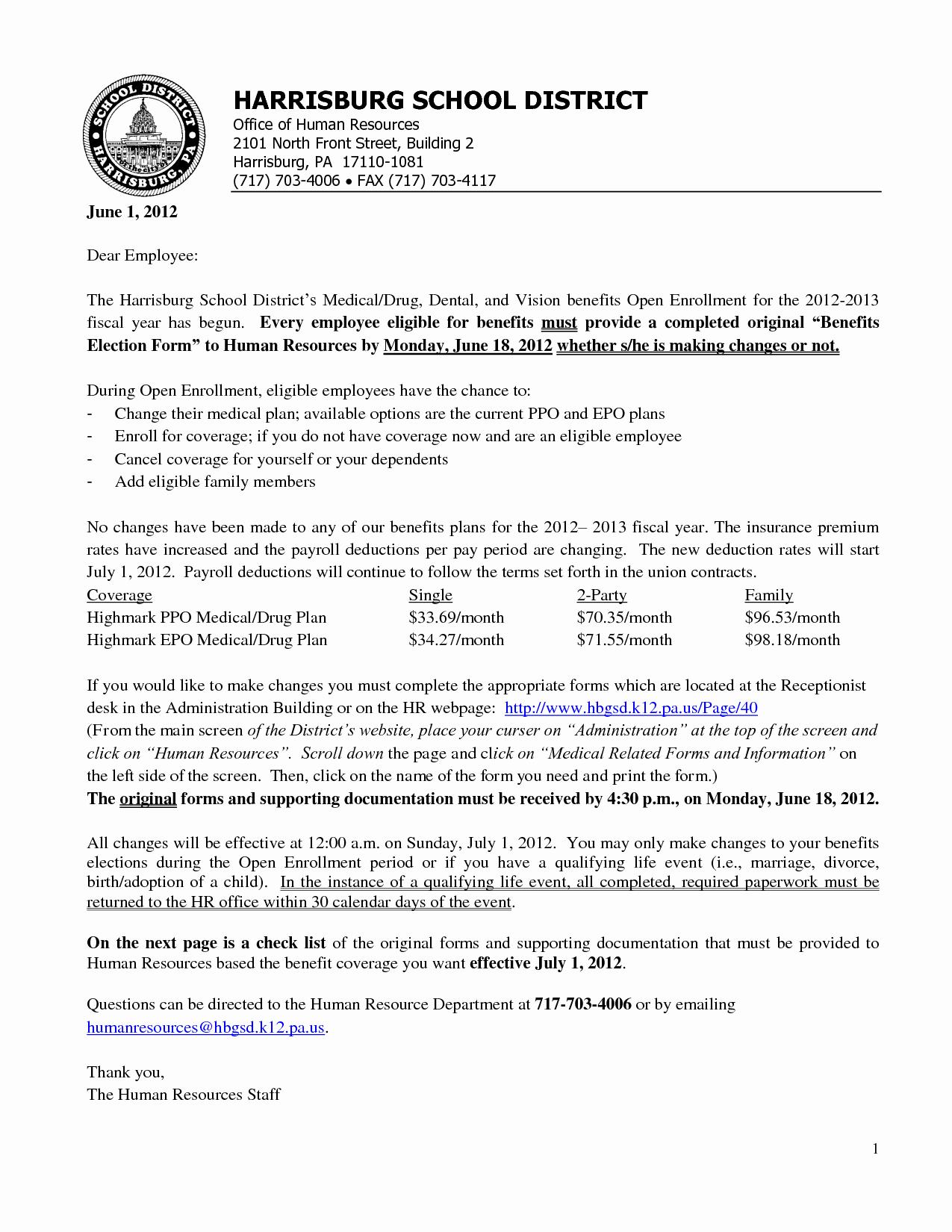 Sample Open Enrollment Letters Best Of 10 Best Of Sample Open Enrollment Notice Cobra