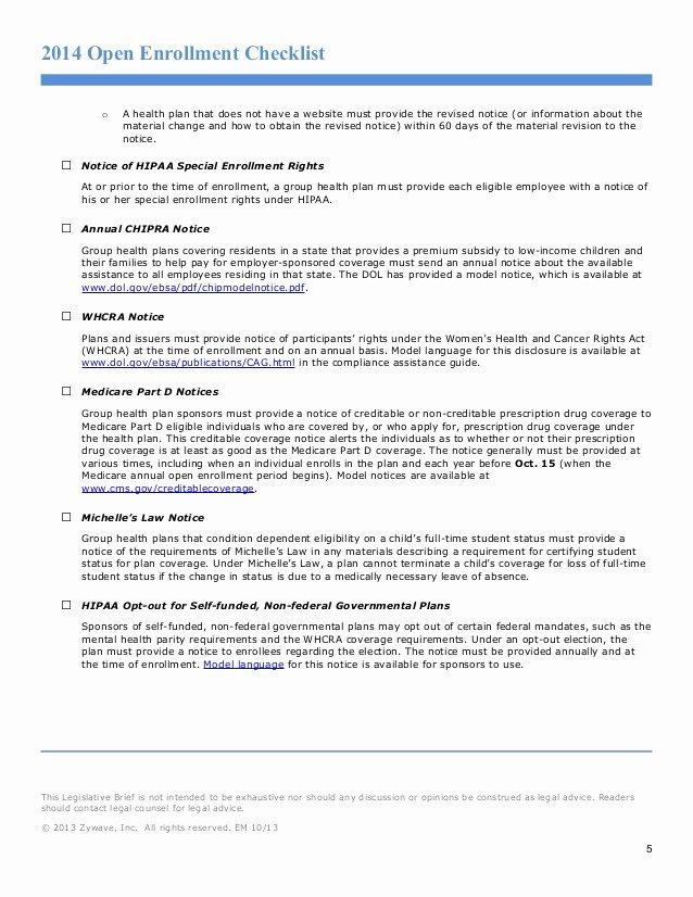 Sample Open Enrollment Letters New Open Enrollment Checklist