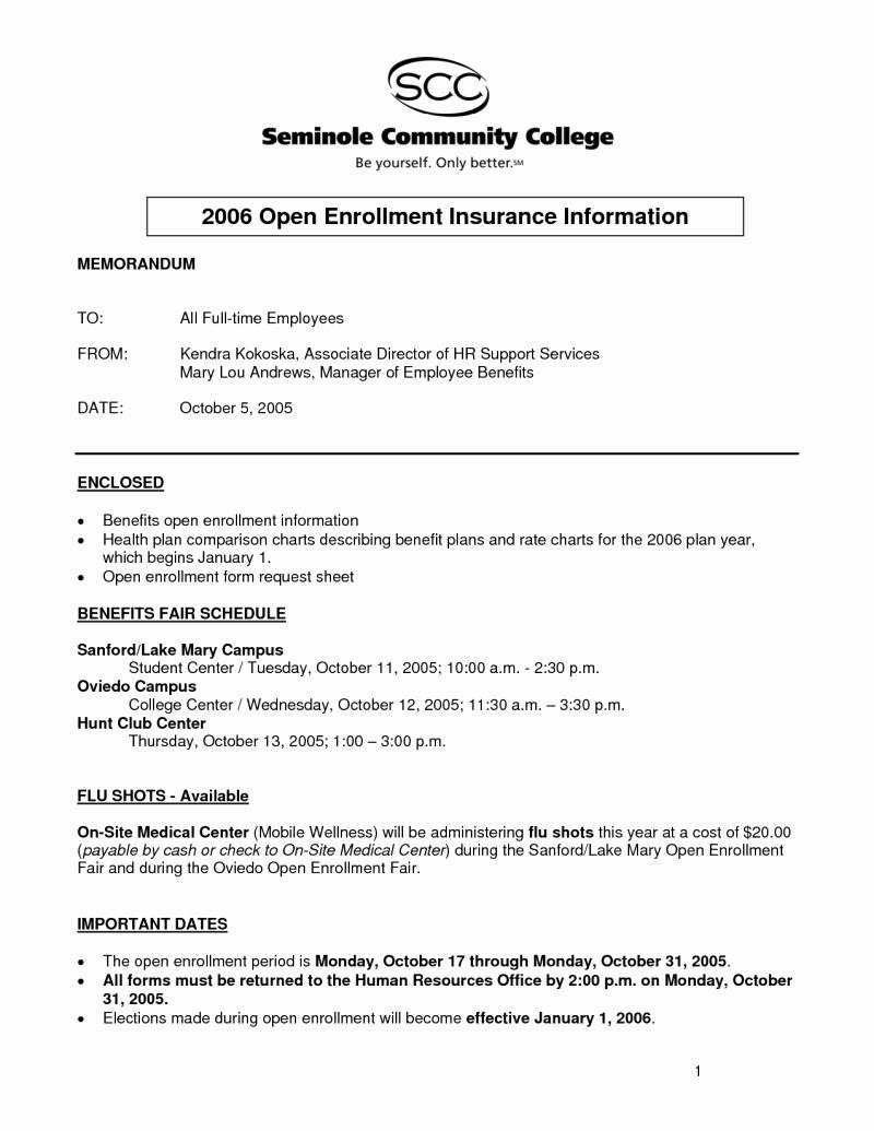 Sample Open Enrollment Letters New Sample Open Enrollment Letter to Employees 2017