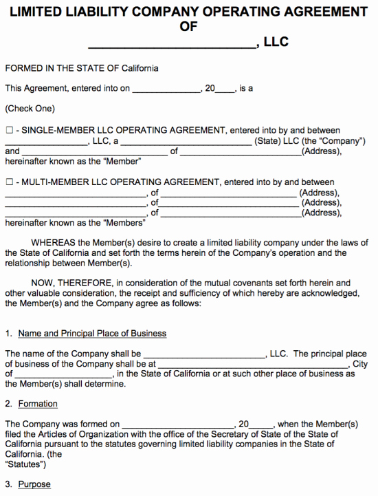 Sample Partnership Agreement California Best Of Free California Llc Operating Agreement Template