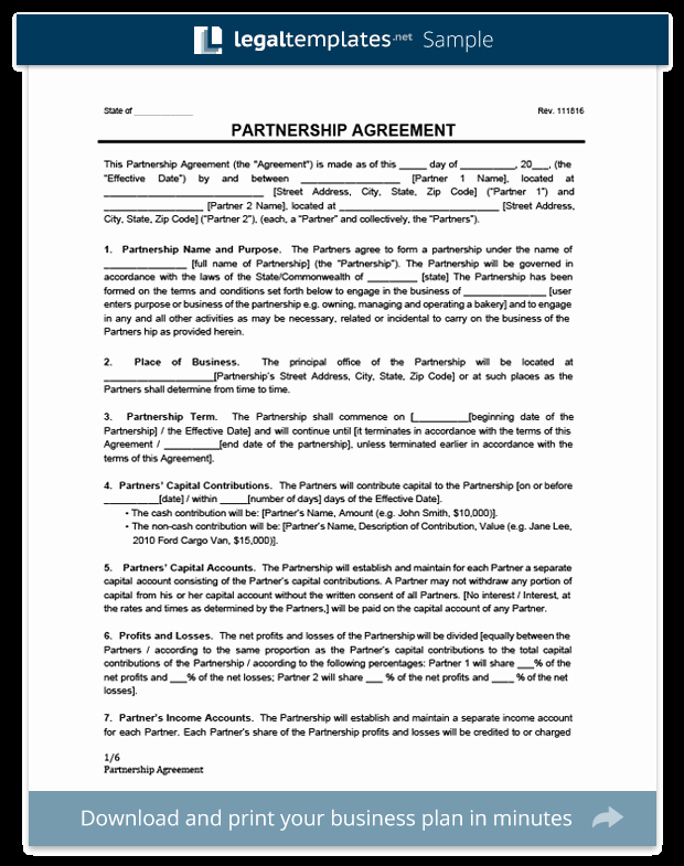 Sample Partnership Agreement California Fresh Partnership Agreement Template