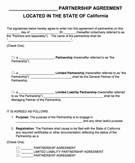 Sample Partnership Agreement California Lovely Free California Partnership Agreement Template Pdf