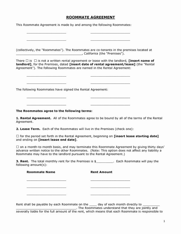 Sample Partnership Agreement California New Printable Sample Roommate Agreement form form