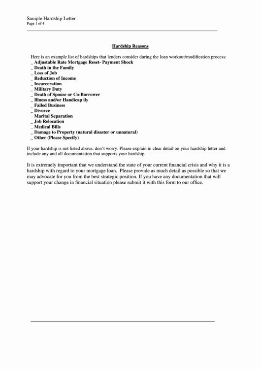 Sample Payment Shock Letter Elegant Sample Hardship Letter Template Printable Pdf