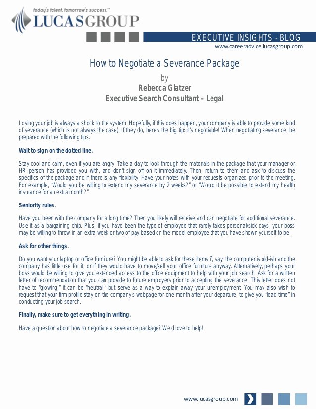 Sample Payment Shock Letter Unique How to Negotiate A Severance Package