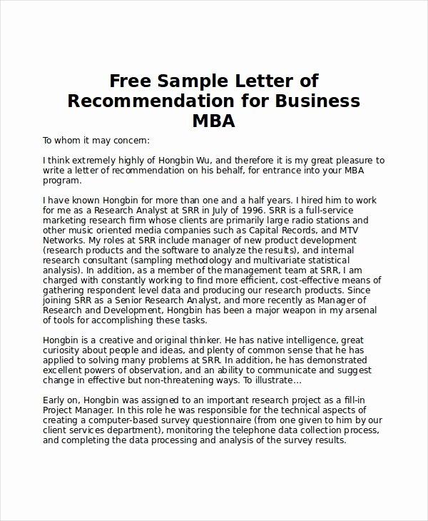 Sample Peer Recommendation Letter Fresh 6 Sample Mba Re Mendation Letters Pdf Word