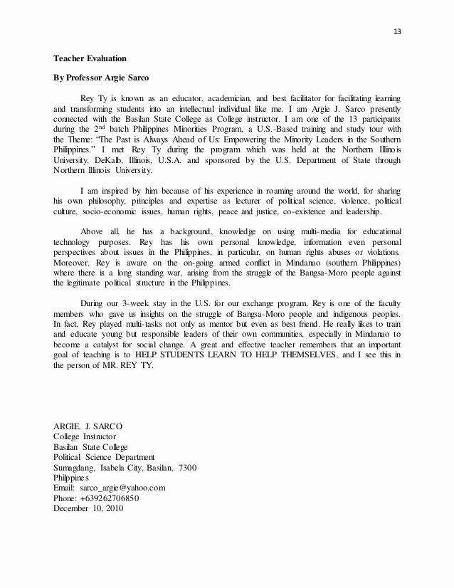 Sample Peer Recommendation Letter Lovely Rey Ty Pilation Teacher Evaluation Letters