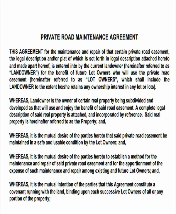 Sample Private Road Maintenance Agreement Awesome 9 Maintenance Agreement – Free Downloadable Samples
