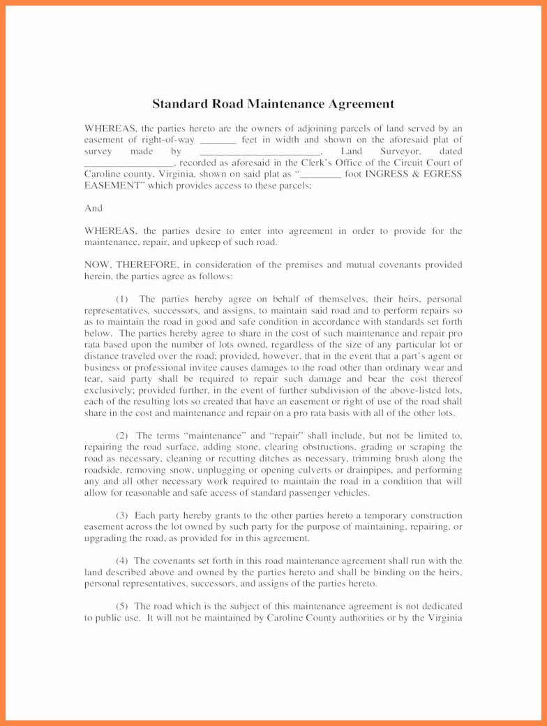6 private road maintenance agreement form