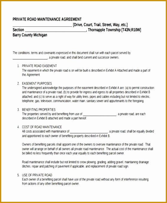 Sample Private Road Maintenance Agreement Fresh 3 Private Child Support Agreement Template