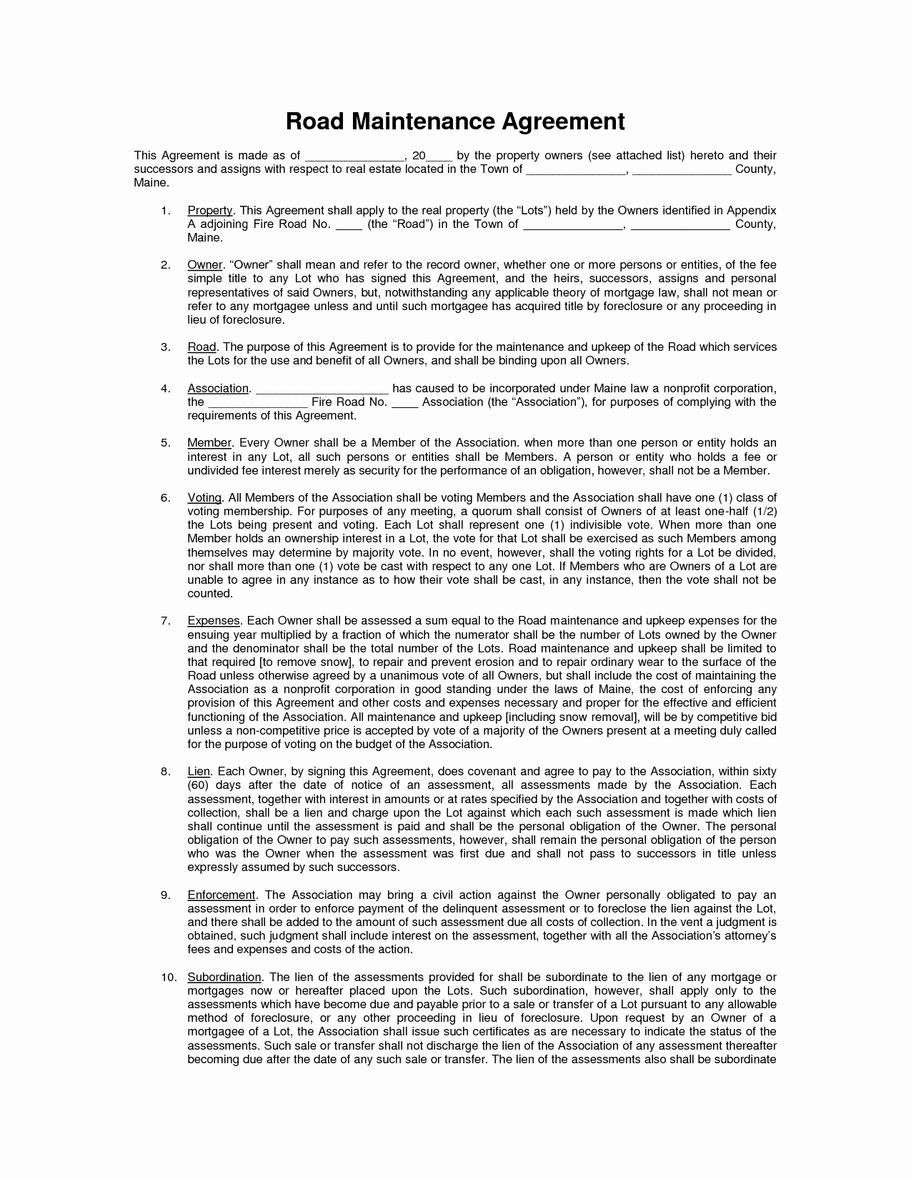Sample Private Road Maintenance Agreement New Private Road Maintenance Agreement
