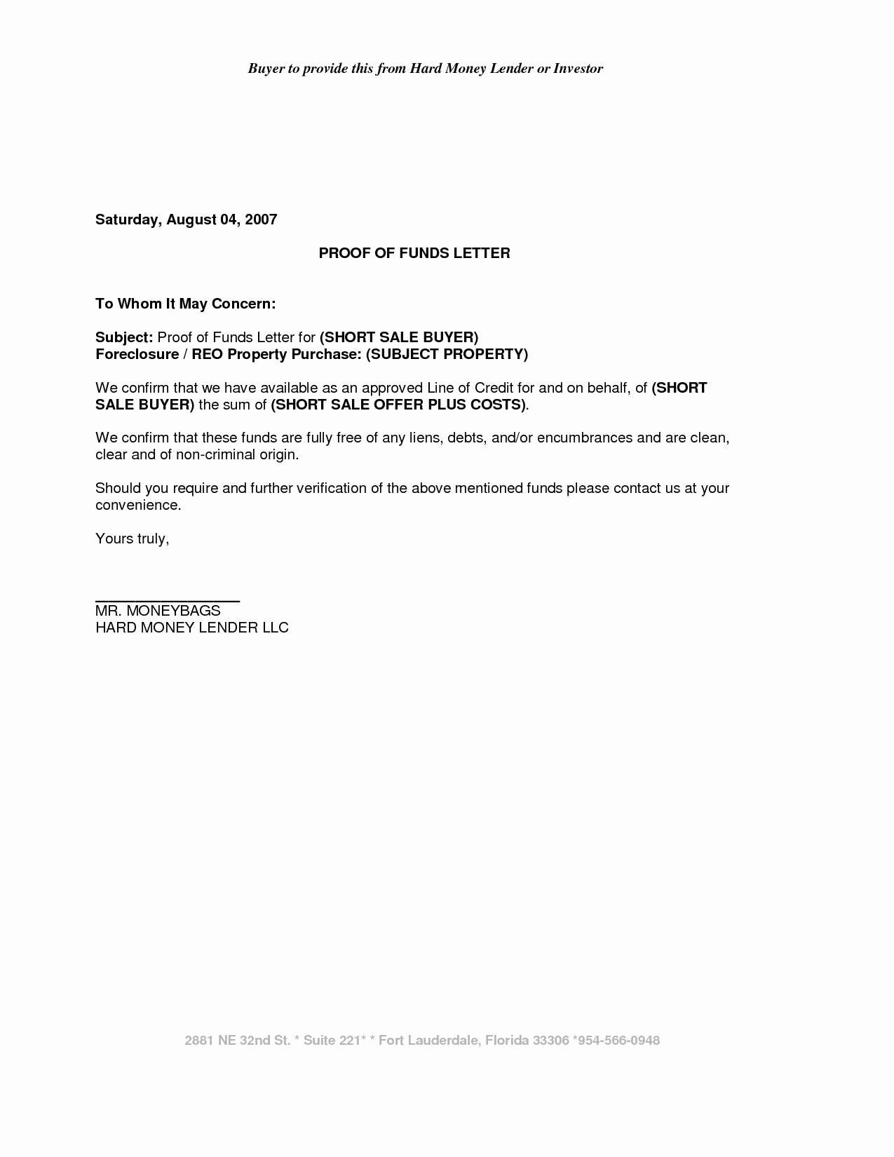 Sample Proof Of Funds Letter Template Fresh School Secretary Cover Letter Template Examples