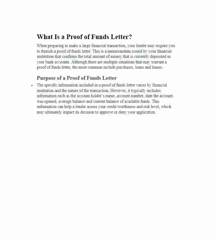 Sample Proof Of Funds Letter Template Inspirational Sample Letter Explanation for Overdraft Fees