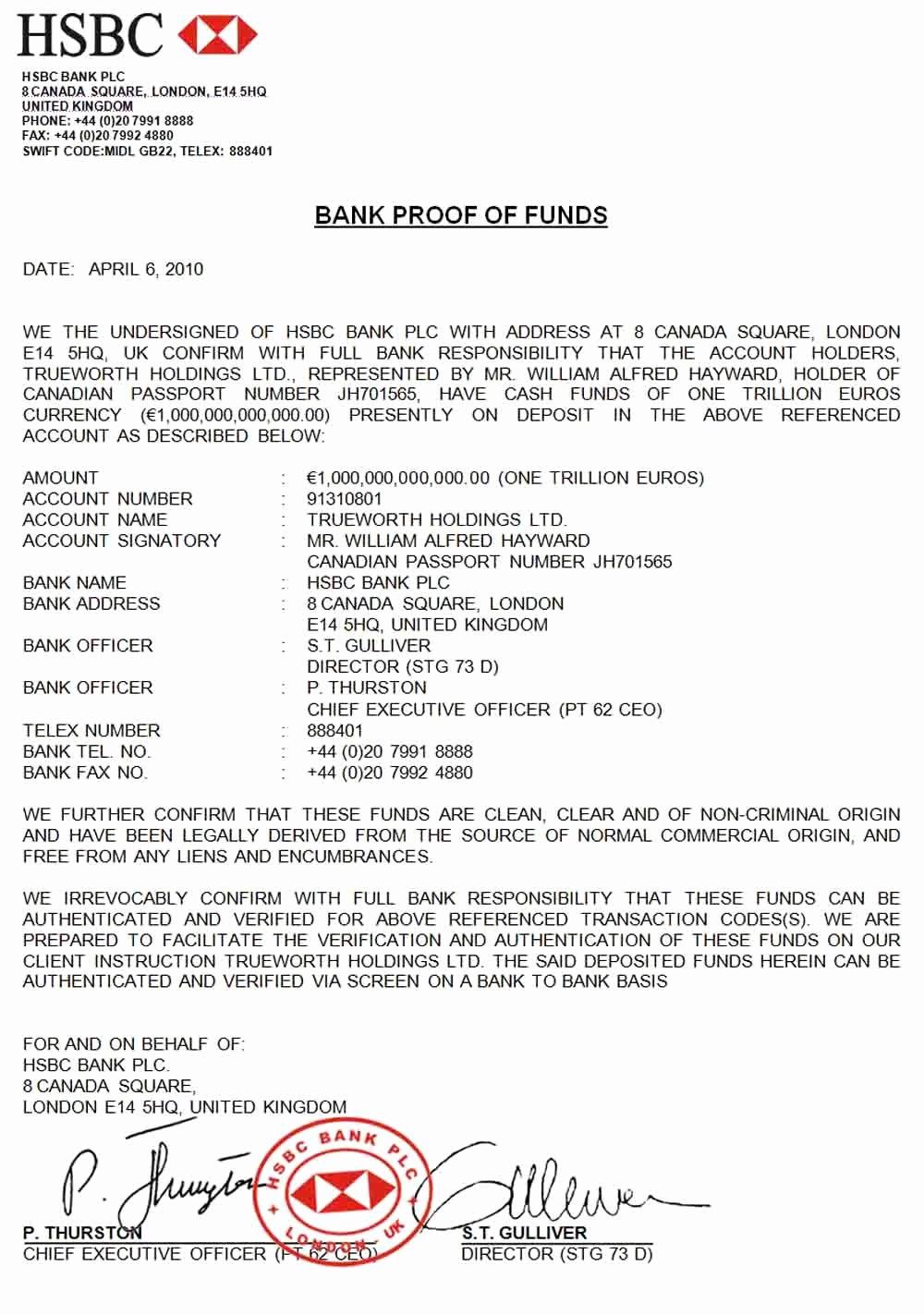 Sample Proof Of Funds Letter Template Lovely Bill Hayward Johannes Riyadi – Hsbc London 1t Pof