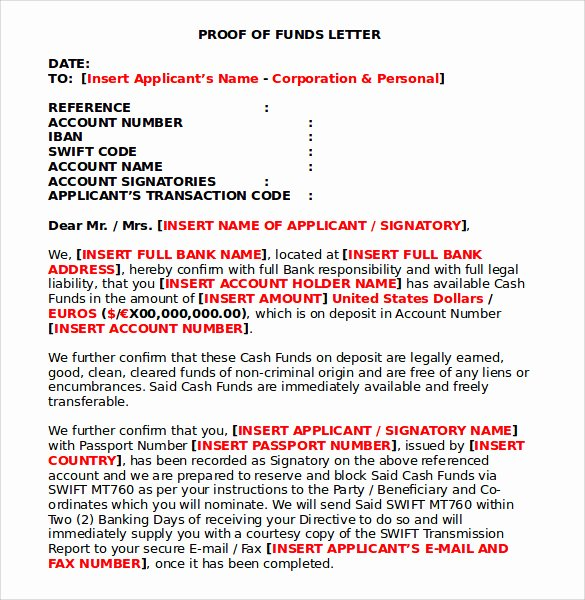 Sample Proof Of Funds Letter Template Lovely Sample Proof Of Funds Letter 7 Download Free Documents