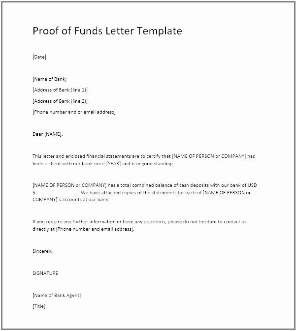 Sample Proof Of Funds Letter Template Luxury Proof Of Funds Pof Definition Example Pof Letter