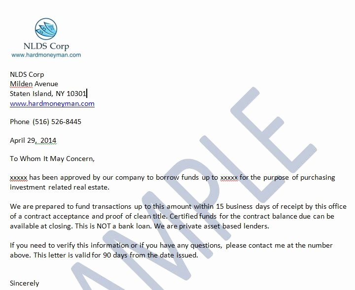 Sample Proof Of Funds Letter Template New Sample the wholesaling Titan