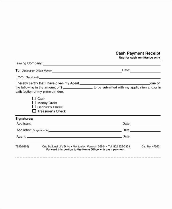 Sample Receipt for Cash Payment Awesome 8 Cash Receipt Templates Free Sample Example format