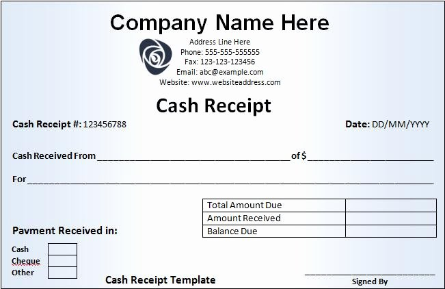 Sample Receipt for Cash Payment Fresh Cash Receipt Template – Curitiba In English