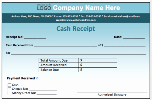Sample Receipt for Cash Payment New Arabic Guy