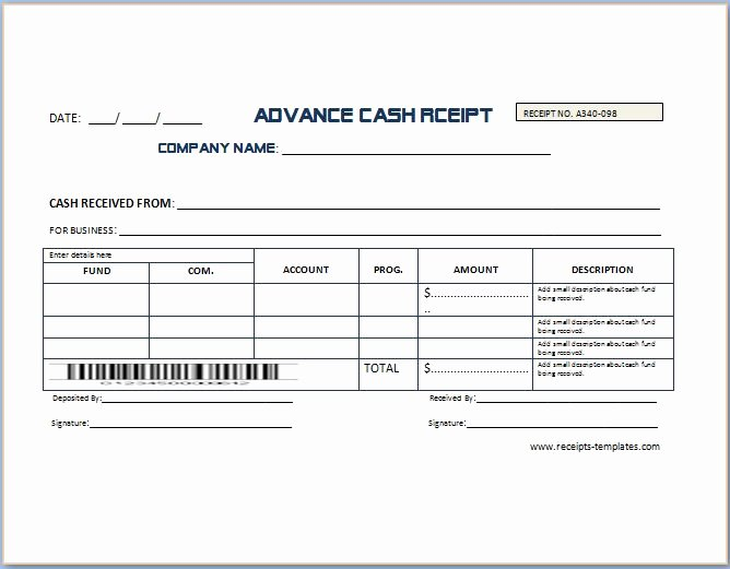 Sample Receipt for Cash Payment New Sample Advance Receipt Template