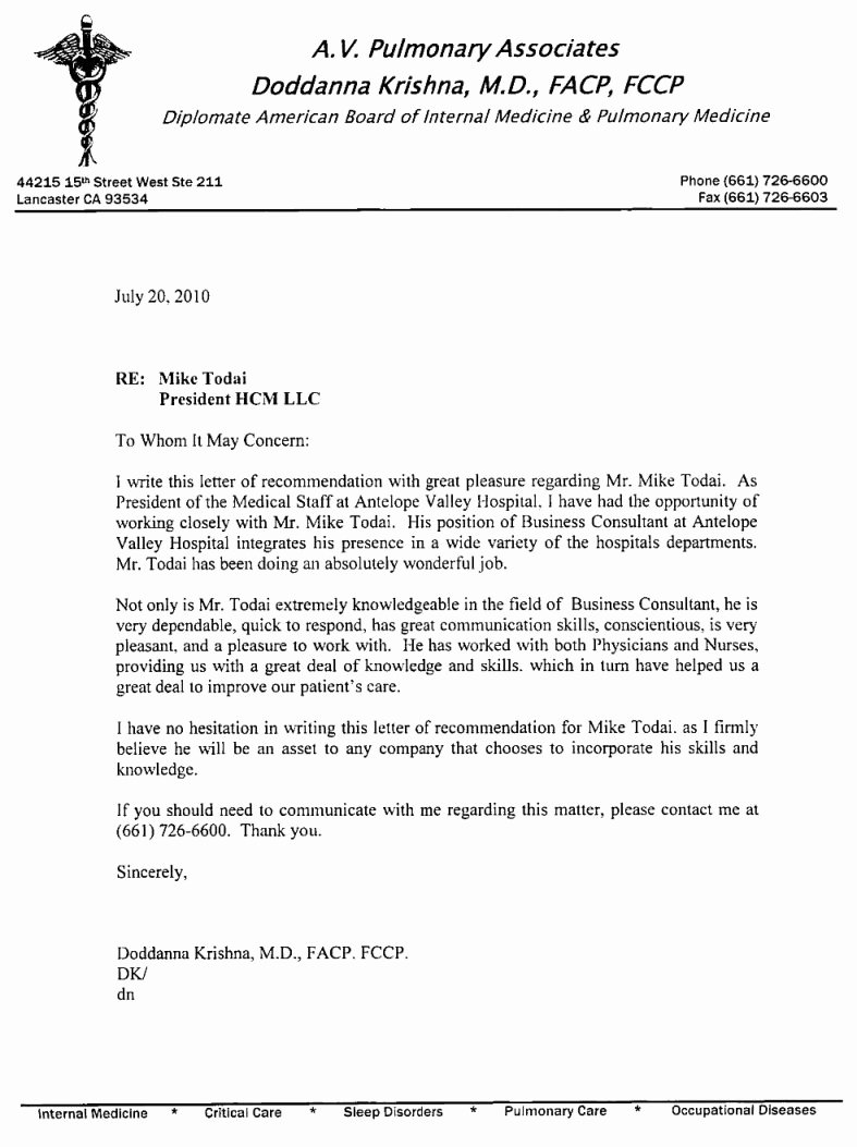 Sample Recommendation Letter for Nurses Lovely Nursing Re Mendation Letter From Supervisor – Perfect
