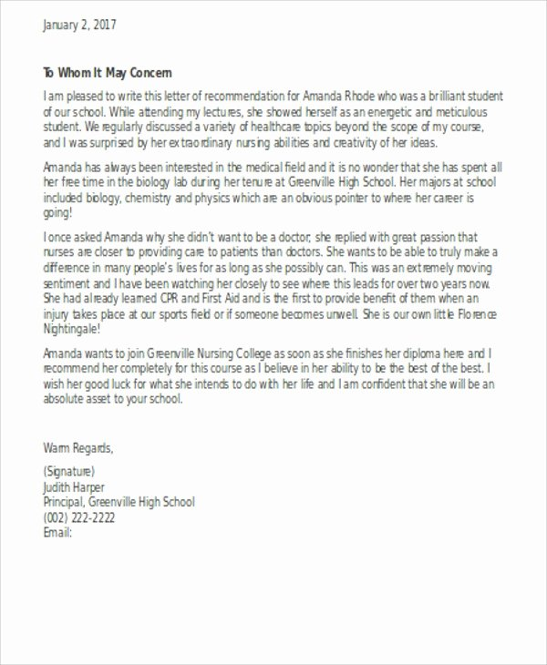 Sample Recommendation Letter for Nurses Luxury Nursing School Re Mendation Letter Template