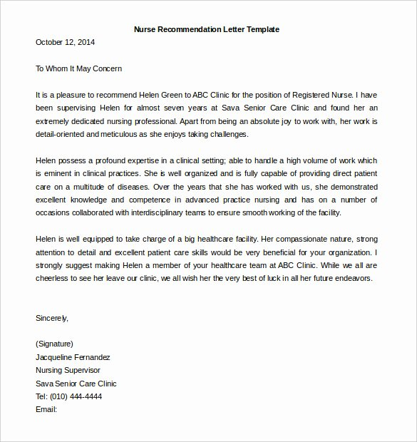 Sample Recommendation Letter for Nurses Unique 30 Re Mendation Letter Templates Pdf Doc