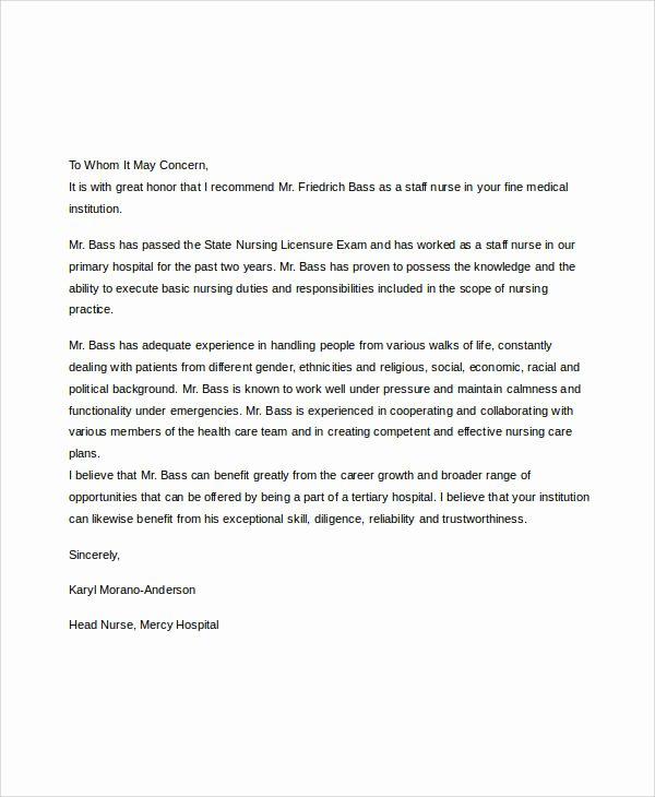 Sample Recommendation Letter for Nurses Unique Examples Of Re Mendation Letter