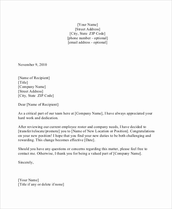 Sample Recommendation Letter for Promotion Awesome 30 Promotion Letters Free Word Pdf Excel format