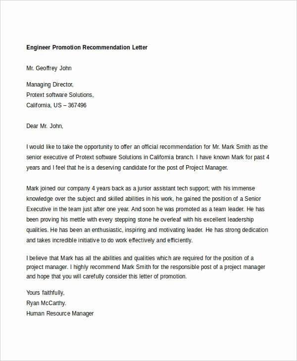 Sample Recommendation Letter for Promotion Fresh 14 Promotion Re Mendation Letters