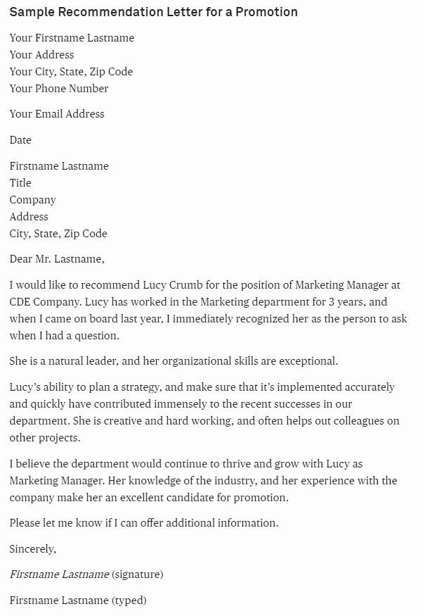 sample letter re mendation promotion