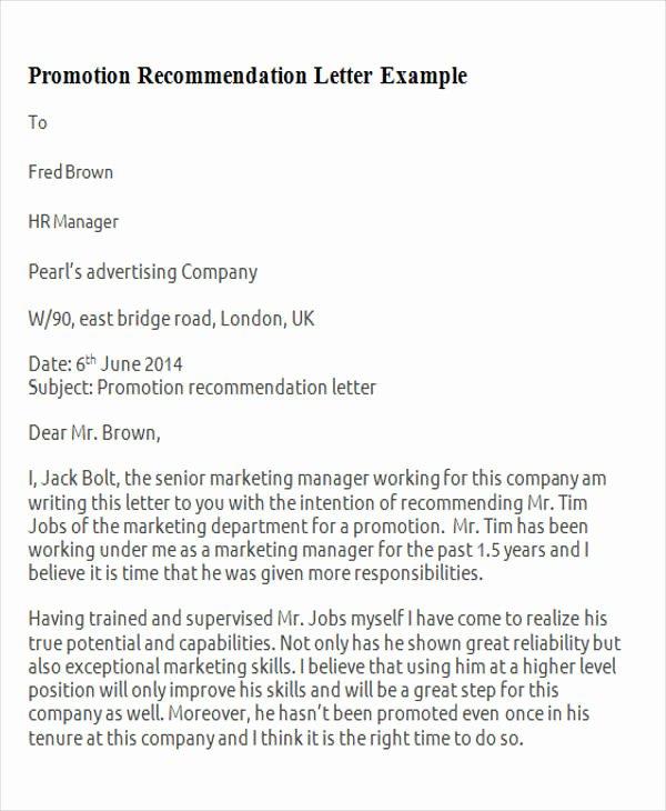 Sample Recommendation Letter for Promotion Luxury 11 Sample Promotion Re Mendation Letter Free Sample